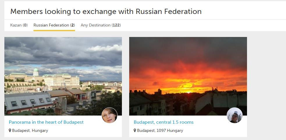В Будапеште доступно сейчас 122 объявления. Но только двое хозяев хотят обменяться домами и пожить в России.